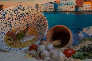 Immagine con il mare e degli elementi di cucina